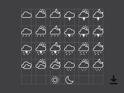 Free Weather Icons (Ai) about minimal sketch illustrator resource file attachment download free ui icons weather