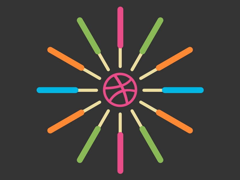 George Nelson inspired Popsicle clock - black background vector sketch
