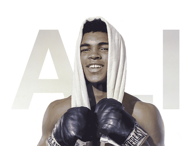 Remembering Muhammad Ali sport sports 2d typography type design photoshop masking muhammad ali