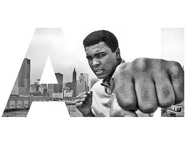 Ali - The Greatest sport sports 2d typography masking type design photoshop
