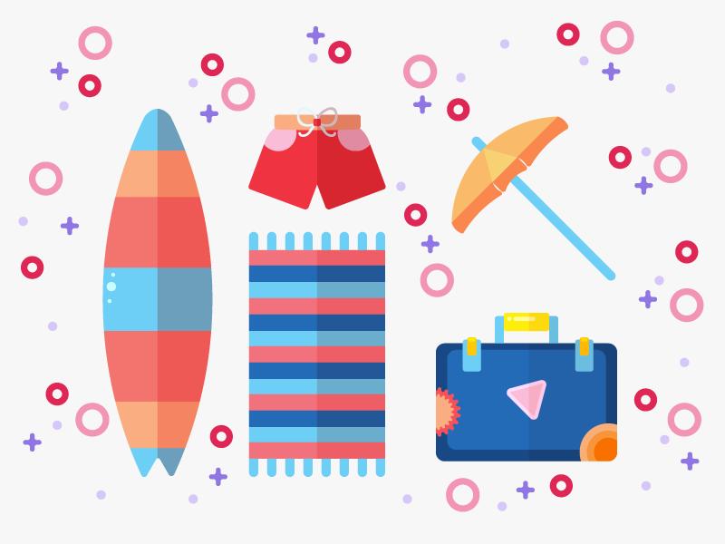 Beach necessities illustrator summer illustration