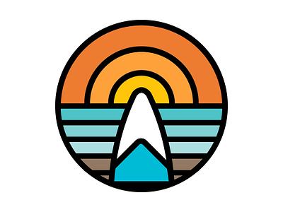 Sun & Surf lines thick vector icon sun illustration logo