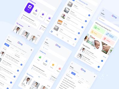 Qimp - Healthcare Mobile App clean pharmaceutical hospital doctor ui design mobile medicine medical app health healthcare