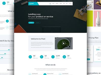 Pixel - Corporate PSD Template  psd template modern dark corporate site clean templates clean  creative business web blue blog agency