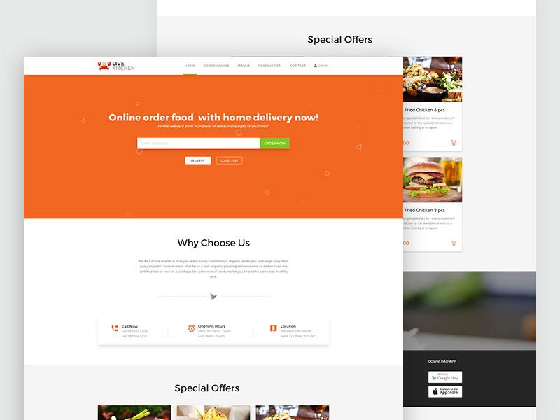Live Kitchen Restaurant Homepage free website web ux ui page landing food diner design clean app