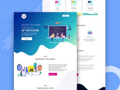 Training School Template corporate landing website business ui ux psd branding clean creative typography agency illustration web design template