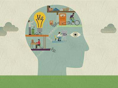 Illustration retro psychology bulb head illustration
