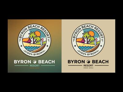 Byron Beach Resort Logo australia resort holiday beach sea surf logo byron bay