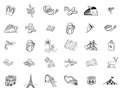 Hand Drawn Travel Icons drawn hand monochrome vacation holiday transport icon travel