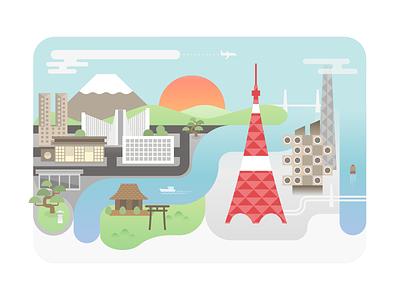Tokyo Illustration vector travel retro nakagin fuji illustration tokyo