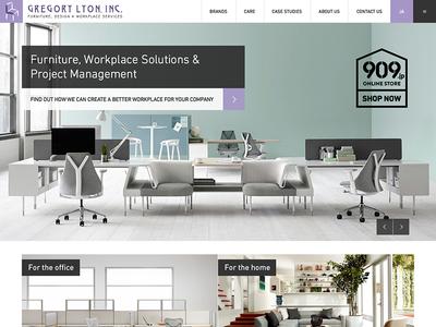 Gregory Lyon Homepage teal lilac clean minimalistic simple modular grid furniture web design landing page homepage website