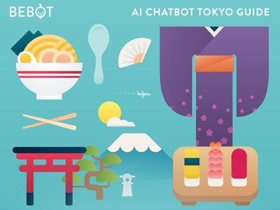 Bebot Postcard tokyo flyer postcard print teal ramen sushi kimono flat illustration japan
