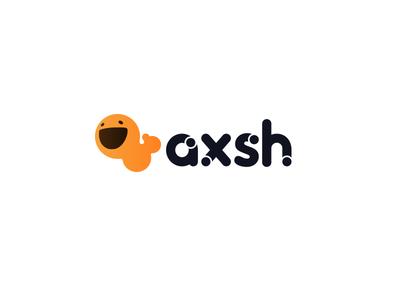 Axsh Logo face cute switch bubble rounded round flat black orange circle dot logo