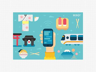 Bebot Postcard V1.0 tokyo flyer postcard print teal ramen sushi kimono flat illustration japan