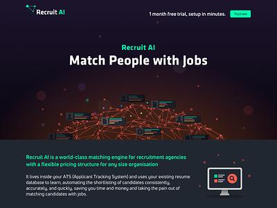 Recruit Ai Website black orange green dark startup artificial intelligence ai recruitment design site web website