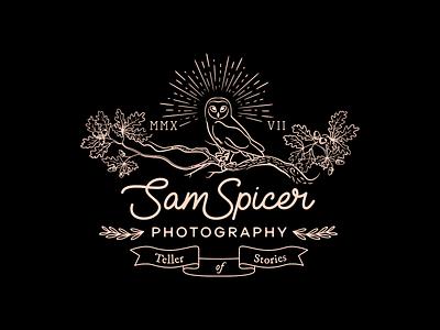 Sam Spicer Photography typography handwritten retro black autumn illustration branding identity oak acorn scroll owl etching photography vintage logo