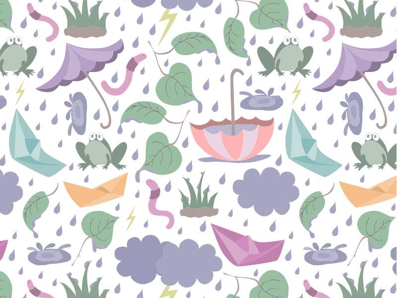 Monsoon Fun - Seamless Surface Pattern pattern repeat surface pattern illustrator illustration rain monsoon fun