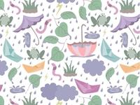 Monsoon Fun - Seamless Surface Pattern
