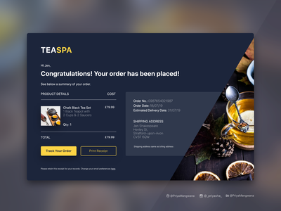 Email Receipt Design tea orderconfirmation webdesign orderfulfillment userexperience website sketch adobexd userinterface ux ui day017 dailyui email receipt