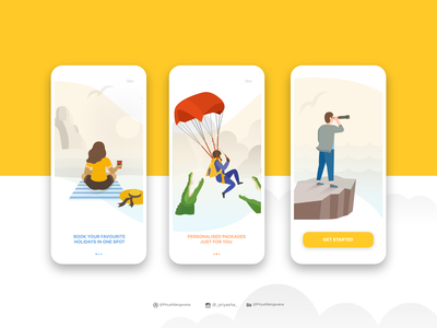 Onboarding - Holiday Booking App ecommerce booking holiday experience vector app illustration userexperience ux userinterface adobexd ui dailyui onboarding
