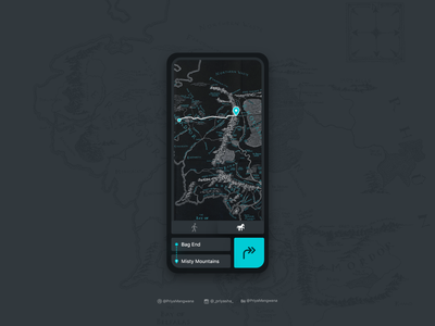 Map User Interface - Dark Mode interactiondesign ux userinterface userexperience ui sketch middle earth map lord of the rings lordoftherings lightmode gif darkmode dailyui app adobexd