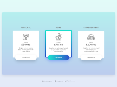 Pricing Plans for Clean Energy gradient pricing plan button design featured sketch buttons selection webdesign illustration dailyui adobexd ux ui userexperience userinterface