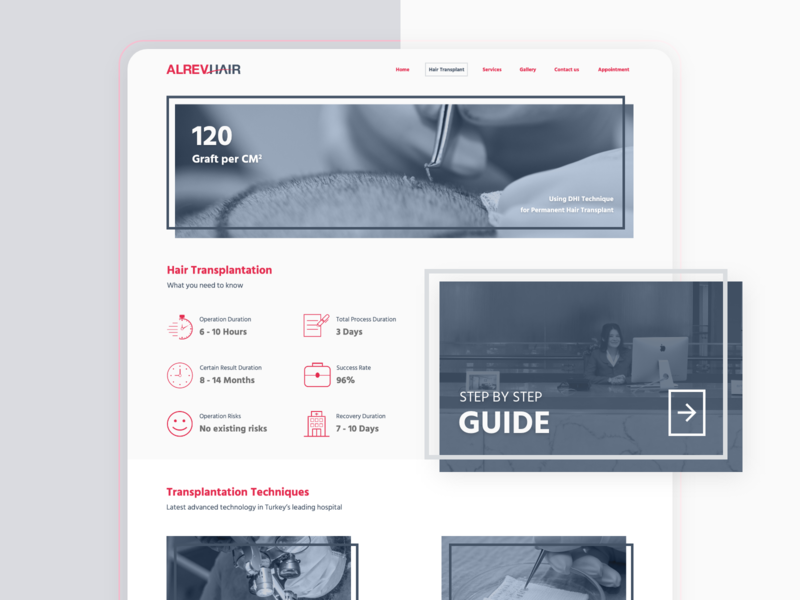 Hair transplantation center's website - What you need to know clickfunnels conversion techniques step by step guide prototype medical tourism hair transplant icon interaction design ui ux