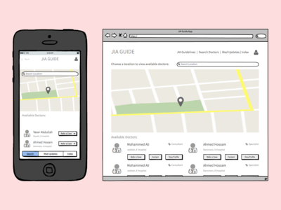 HCPs Search and Referral App Wireframes