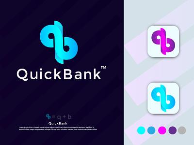 QuickBank brand bank logo design motion graphics 3d illustration typography icon minimal branding modern logo for bank brand identity logo flat minimalist flat modern minimalist logofolio 2021 bank logo brand logo modern logo