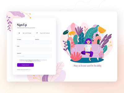 Sign Up Form form create account violet dailyui 001 be healthy stay at home stayhome plants flowers ui ux ui uidesign ui design illustraition illustration art signup signupform sign up daily ui