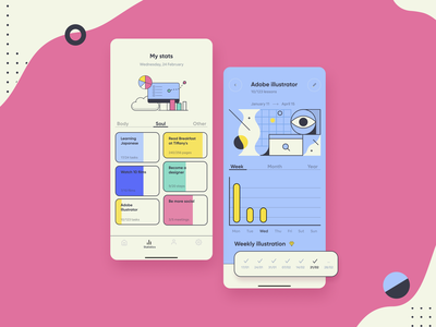 Goal tracking app pink concept design conceptual progress achievements stats stats ui productivity art goals ui ui design planner app artsy statistics tracking app goal design