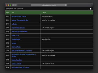 websites archive dark mode dark mode table archive web
