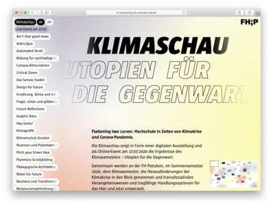 Klimaschau utopias for the present utopien für die gegenwart showcase climate catastrophe climate change brandenburg digital exhibition university of applied sciences potsdam university fh potsdam climate crisis klimaschau