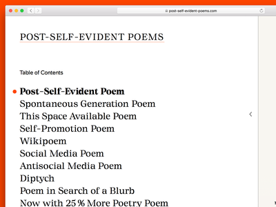 Table of Contents digital literature digital reading reading interface ux ui navigation index table of contents literature guy bennett post-self-evident poems poetry poems