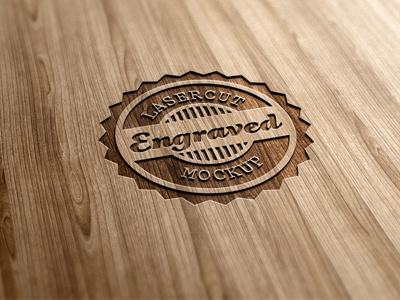 Lasercut / Engraved Wood Logo Mock-Up logo mock-up wood lasercut engraved wooden 3d realistic photorealistic display presentation effect carved carving engraving