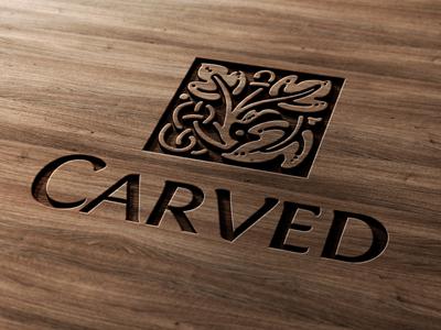 Carved Wood Logo Mock-Up wooden presentation logotype logo mock-up realistic wood carved carving engraved