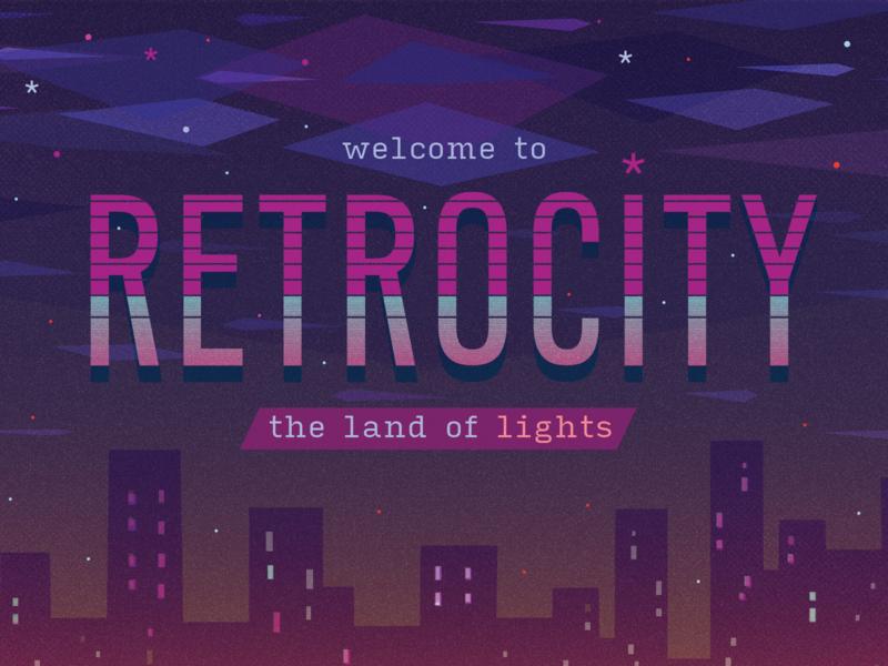 Retrocity postcard vector art illustration design futuristic retro night clouds neon skyscrapers greiman april 80s stars city lights