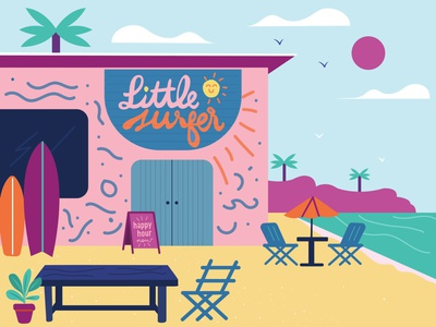 Little Surfer surf little wave beach skate surfer restaurant art design illustration vector branding and identity typography branding signage design