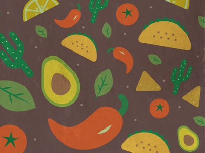 a fun Mexican food pattern! illustration design pattern vector mexican food jalapeño nachos tortilla avocado taco