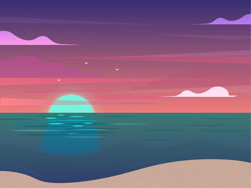 beach gradient summer flat ui sun sunset sand ocean beach branding art design illustration vector
