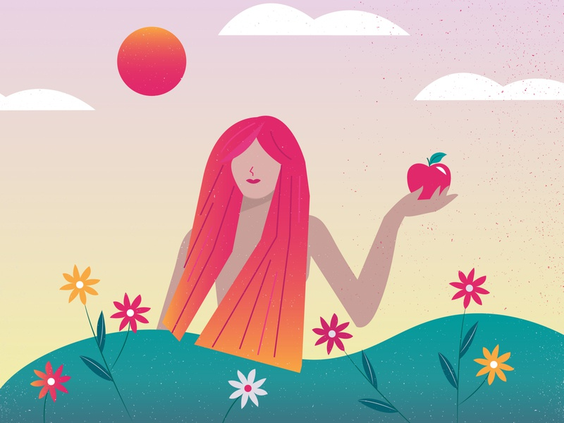 Eve flat art illustration design gradient flowers nature apple eve