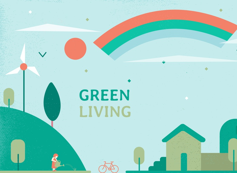 Green Living planet environment trees bike flat ecology green vector ecofriendly design illustration sustainable