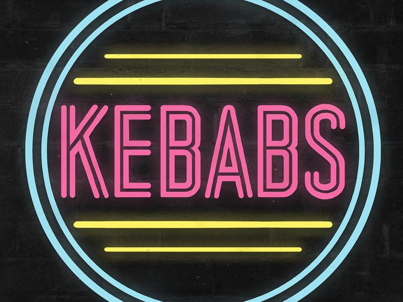 KEBABS: Neon Sign Logo branding fast food kebabs resturant typography font lettering neon light mockup illustration logo