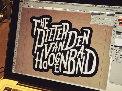 Typography for: The PVDHB typography black and white illustrator lettering hand drawn scanned vector work in progress text font logo sticker typographical nightmare working with too many letters the dutch dolphin