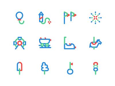 Amusement park icons lineicons line ui icons iconset amusementpark
