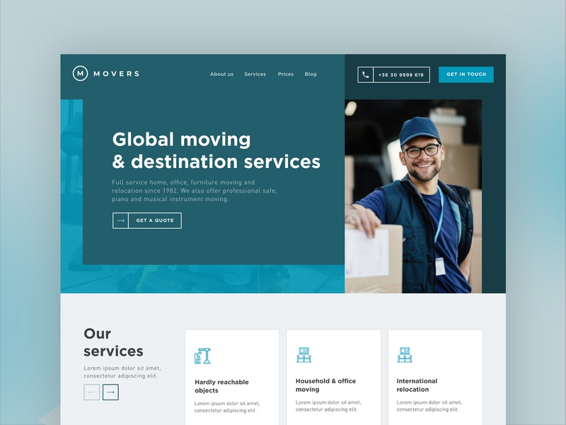 Branding and UI exploration for a moving services company mint clean movingservice uidesign ui cyan teal branding minimalist flat