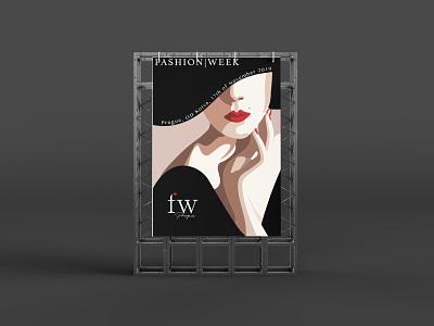 Fictional poster of a fashion show art design fashion illustration elegant girl red lips poster fashionweek fashion