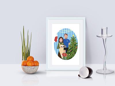Christmas illustration gift present christmas kid cake tree family vector art illustration design