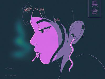GlitchGirl layout design texture ipad pro abstract anime poster illustration