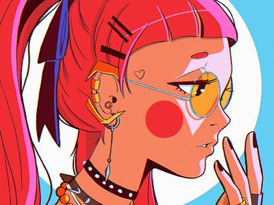 Summer flat layout design ipad pro texture abstract anime poster illustration